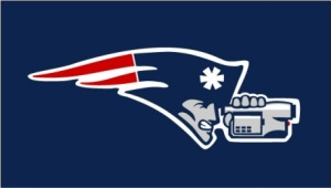 """""""back in championship form""""     In celebration of the good ol' times, the New England Patriots have switched back to the logo they used in the early 2000s, when Brady and Belichick won the first three of their four Super Bowl titles."""
