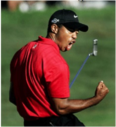 """""""Score!""""    Tiger Woods, seen here celebrating after scoring with 3 female reporters following his announcement!"""