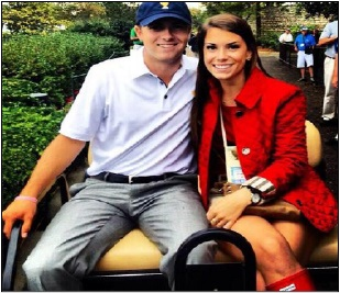 """Let's talk feelings""    Spieth fakes a smile with his tri-delt girlfriend. Apparently, she doesn't even know his major."
