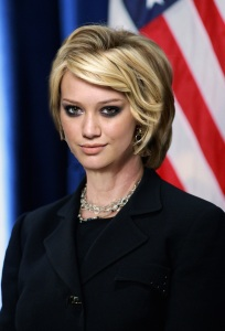 """The red arrow """"Everyday Americans need a champion. I want to be that champion."""" says Hilary"""