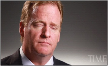 """It's Not Fair!""     An apoplectic Roger Goodell does not care about your fantasy team, but he does act under the misguided notion that other people care about his team. Pictured above was Goodell complaining about losing to a team with Brady, seething over how ""that bastard should have been suspended anyway."""