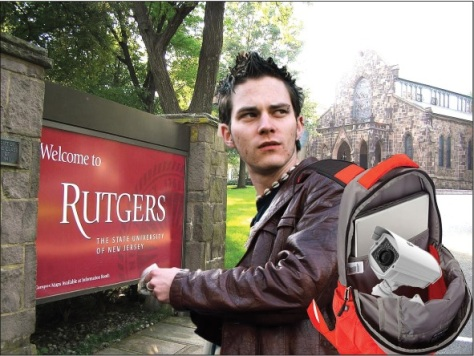 """Dude, your backpack is open."" Local rapscallion Robbert Croocker was photographed with securit equipment of questionable origin. He insists that he's holding onto it for a friend. I wish I had a friend as dependable as him."
