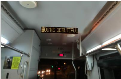 """...IT'S TRUE!"" The scrolling LED banners inside the buses will occasionally support you with lyrics from the most incredible songs of your middle school years."
