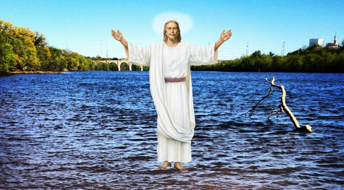 Jesus Walks on Raritan River, Trips on Floating Fish Corpse